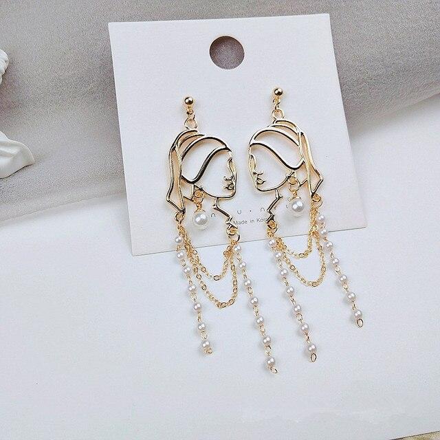 S925 Needle Pearl Long Tassel Abstract Lines Girl Portrait Earrings Hyperbole Personality Dangle Earrings Women Jewelry 5
