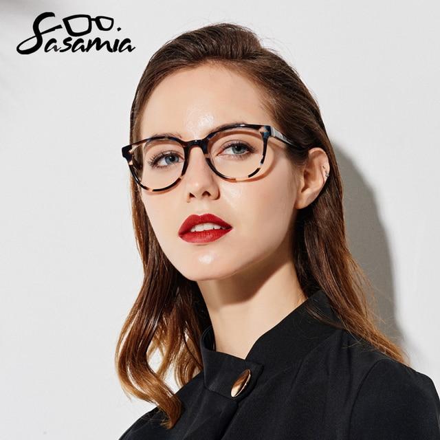 Glasses Round Acetate Glasses Myopia Eyeglasses Women Frame Clear Lens Frame Optical Demi Glasses Frames Women Circle Eyewear