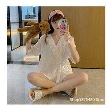 2020 New Women Pajamas Set 2 Pcs Polyester Sleepwear Pijama Silk Home Wear Home Clothing Solide