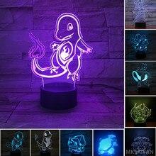 Pokemon anime 3d led luzes da noite bulbasaur charizard squirtle mewtu cor mudando figura de ação decoração casa figma boneca presente brinquedo