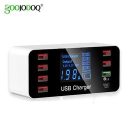 GOOJODOQ 8 Port rodzaj usb C ładowarka inteligentny wyświetlacz ledowy szybkie ładowanie 3.0 usb szybki adapter do ładowania 40W z inteligentny układ scalony ładowarka podróżna w Ładowarki do telefonów komórkowych od Telefony komórkowe i telekomunikacja na