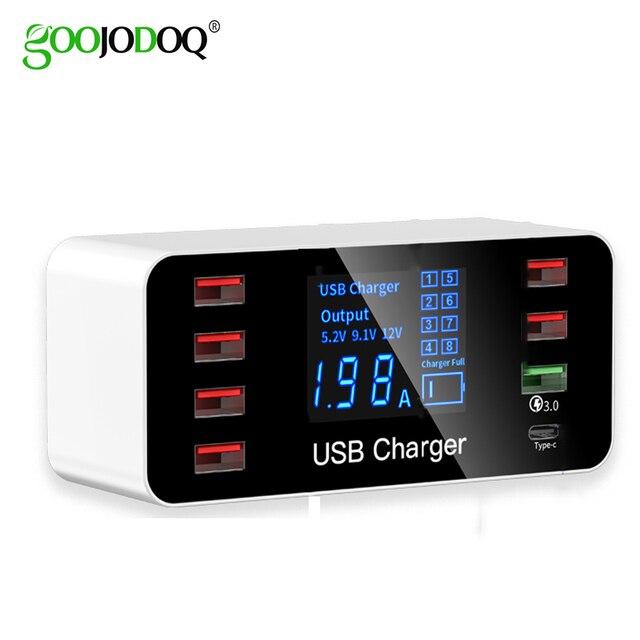 Зарядное устройство GOOJODOQ с 8 USB портами и светодиодным дисплеем, 3,0, 40 Вт