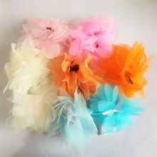 1 Pcs/lot Elastic Hair Accessories Children Fabric Hand Band Girls Lace Chiffon Flower Hairband Hair Ponytail Rope цена