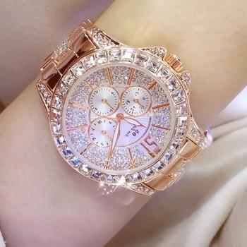 Womens Stylish Luxury Three-eye Diamond Crystal Large Dial Waterproof Quartz Watch Woman 2020 Lux Bracelet Clasp