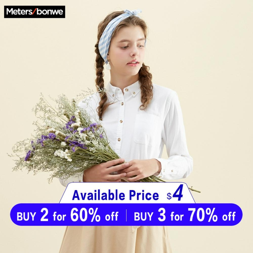Metersbonwe Women 100% Cotton Blouses 2019 Long Sleeve Turn Down Collar Shirt Smart Casual Office Lady Blouse Shirt Casual Tops