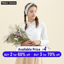Metersbonwe Women 100% Cotton Blouses 2019 Long Sleeve Turn Down Collar Shirt Sm