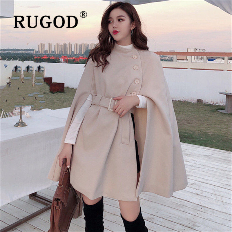 RUGOD Korean New Style Solid Color Loose Cape Coat Collect Waist Woolen Medium Long Coat Women Winter Tops For Woman