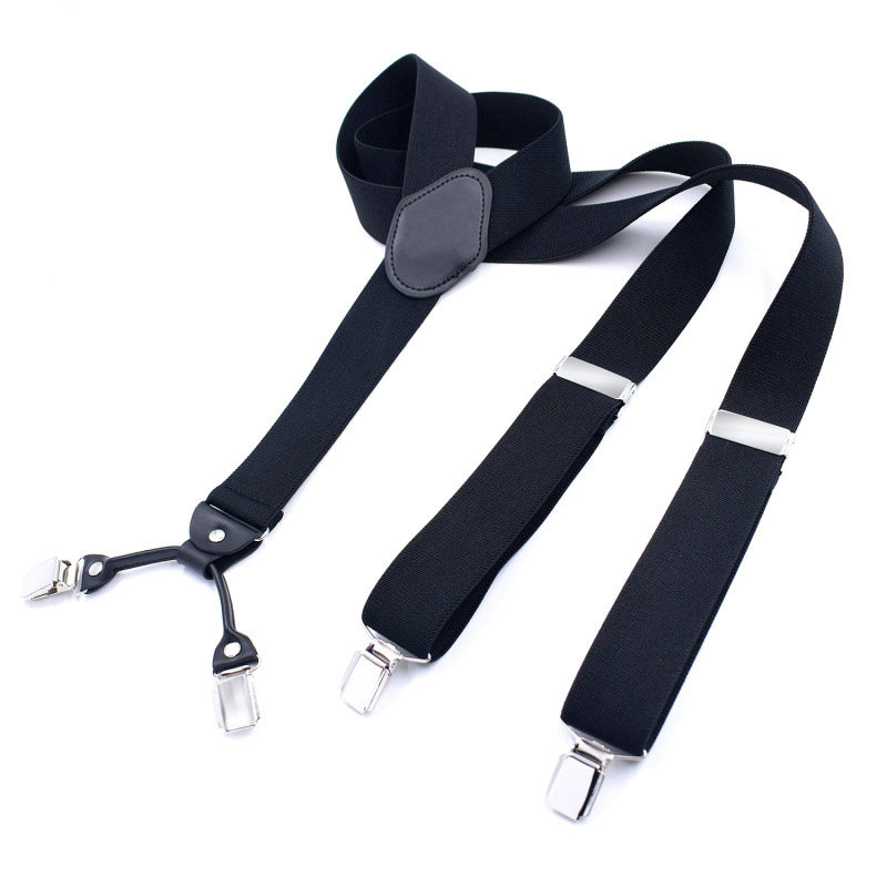 2020 Men Women 4 Clips Shirt Stay 3.5cm Pants Trouser Clip-on Y-Back Braces Pu Leather Elastic Alloy Head Adjustable Suspenders