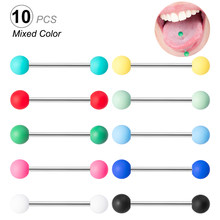 10 pçs colorido acrílico bola língua piercing aço inoxidável anel de língua barras barbell nipple anéis sexy piercings jóias 14g