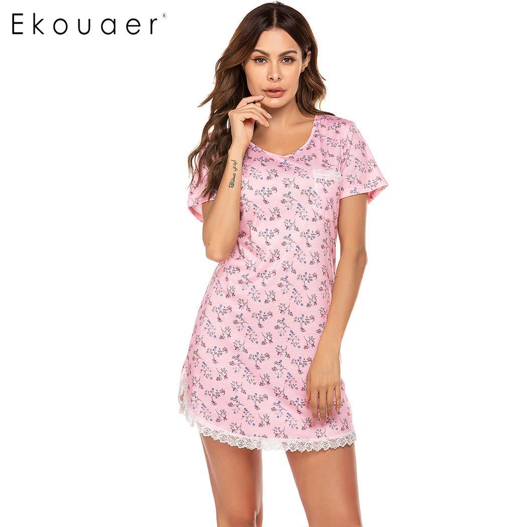 Ekouaer Summer Nightgown Women Nightwear O-Neck Short Sleeve Printed Lace Trum Sleepwear Night Dress Homewear