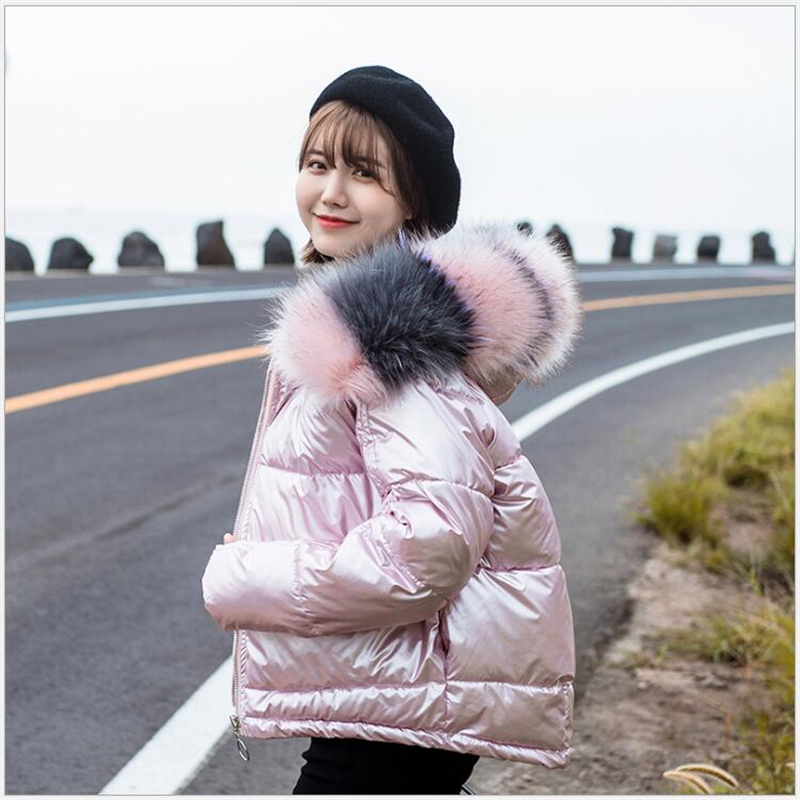 Women Winter Jacket 2019 Girls Cute Short Coat Female Warm Large Fur Hooded Thick Padded Jacket Outwear Parkas Glossy S145
