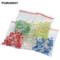 500 unids/lote 3MM Kit de diodo LED Color rojo verde amarillo azul blanco LED luz 5 Color cada 100 piezas