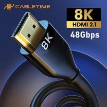 Кабель cabletime hdmi 21 кабель 8k 8k/60 Гц 4k/144 ультратонкий