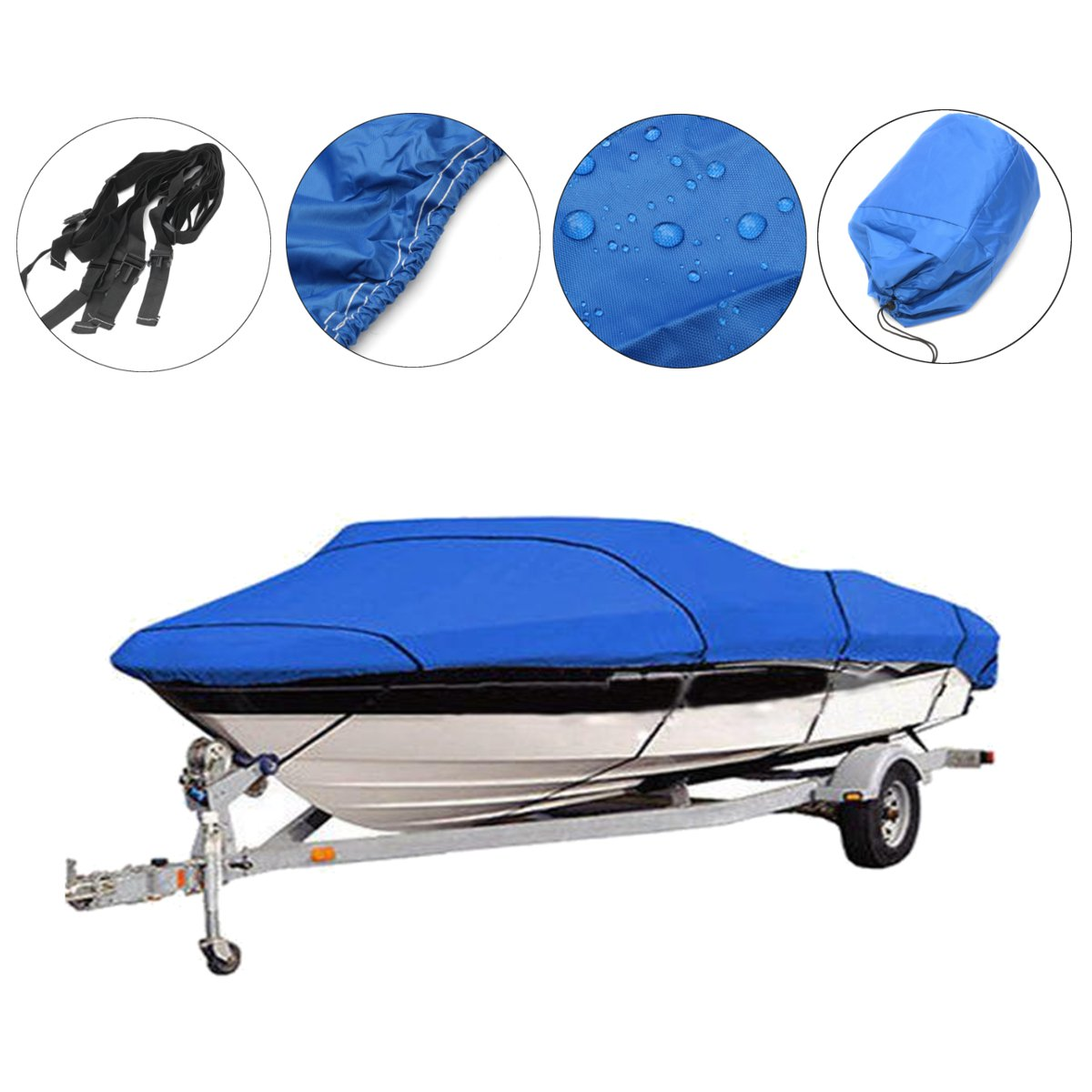 1 Pcs Universal Heavy Duty Fishing Ski Boat Cover For 11-13' 14-16' 17-19' 20-22' V-Hull Waterproof Cover Blue Boat Accessories