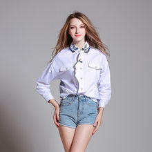 Women Sexy White Long Style Boyfriend Top Shirts Spring New Harajuku Embroidery Single Breasted Large Size Striped Female Blouse(China)