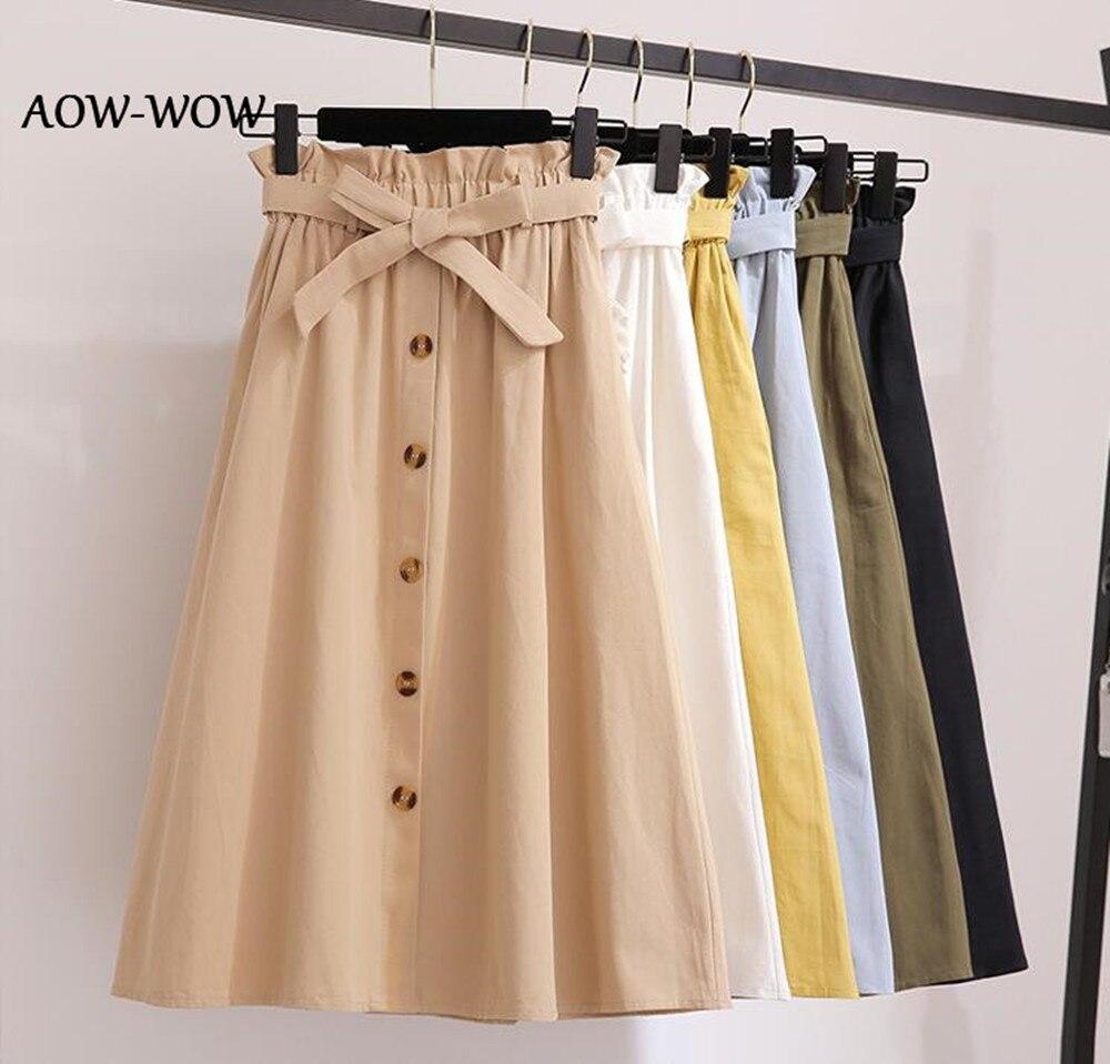 Women Button Skirts 2019 High Waist BLACK Skirt Women Spring Midi Skirts Womens Elastic Waist A Line Ladies Skirts + With Belt