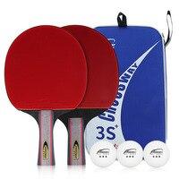 1 Set Professional 3 stars Table Tennis Bat Racket Long Short Handle Ping Pong Blade Racket For Beginner Training Good Control