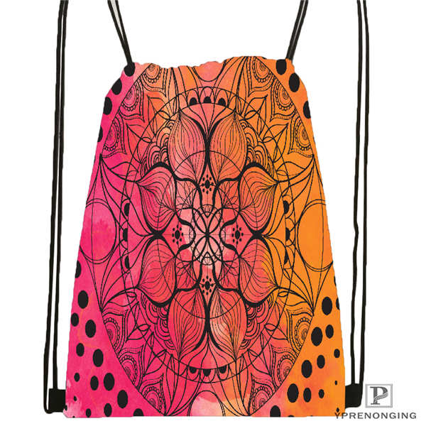 Custom Mandala El Laberinto De Rosa@5  Drawstring Backpack Bag Cute Daypack Kids Satchel (Black Back) 31x40cm#20180611-02-99