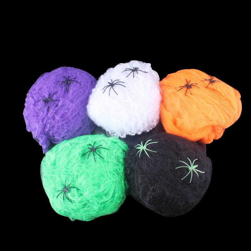 Lifelike Cotton Fake Spider Web And 5colors Spiders Halloween Cobwebs Spiderweb Haunted House Necropolis Party Decorations Props