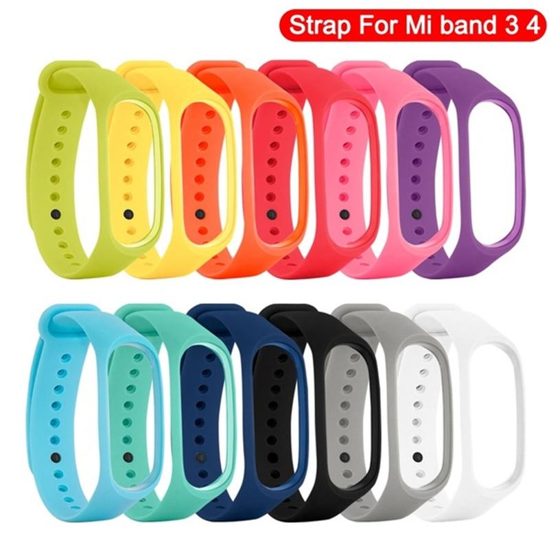 Pulseira de silicone para xiao mi mi banda 3 4 pulseira inteligente esporte pulseira relógio de pulso de silicone para xiao mi mi banda 4 3 pulseira