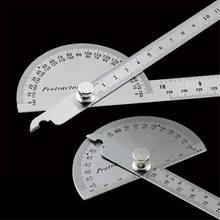 Regla de ángulo giratorio de cabeza redonda de acero inoxidable, regla de brazo de metal, herramienta de medición de matemáticas multifunción ajustable