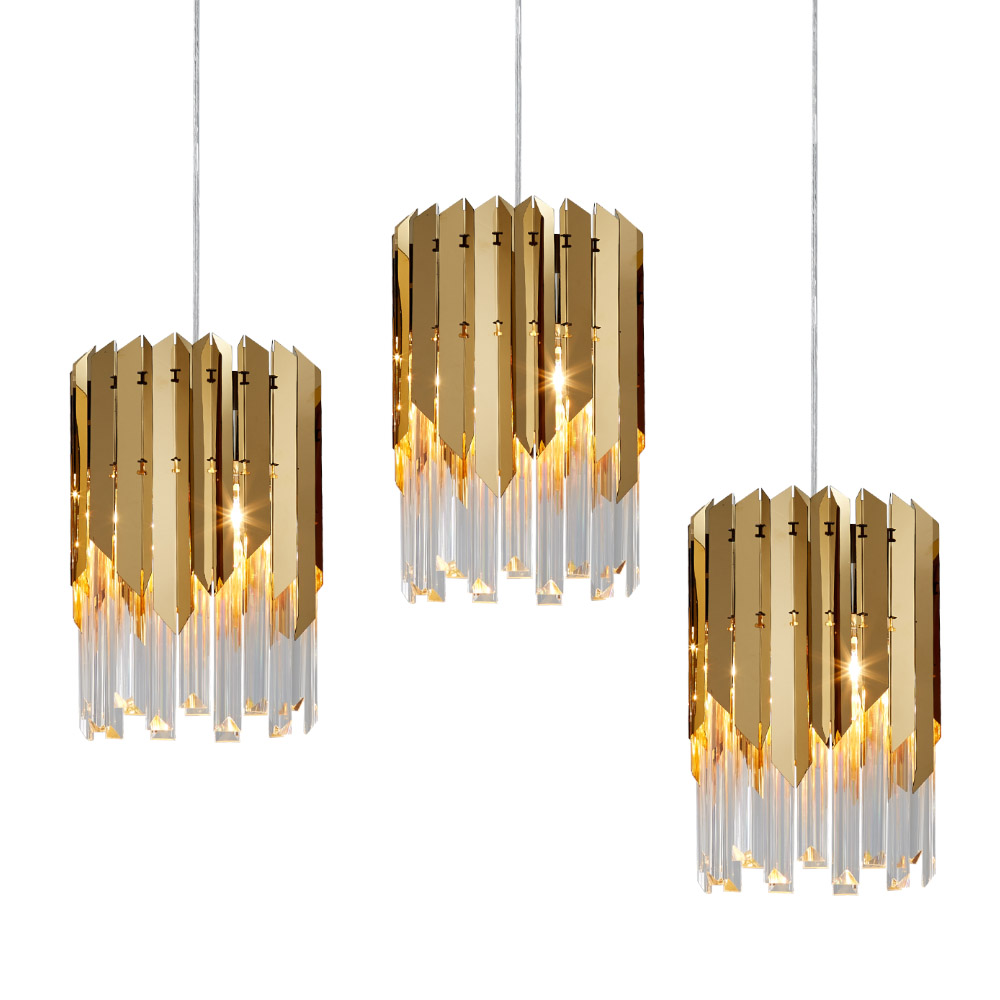 Lustres ronds en cristal doré, de luxe moderne en cristal doré pour la salle à manger lustre de chambre à coucher éclairage de l'île de cuisine