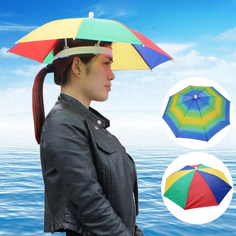 Headwear-Umbrella Head-Hats Rain-Gear Beach-Cap Foldable Fishing Outdoor For Hiking Camping