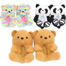 Kawaii Kids Teddy Bear Slippers Anti-slip Faux Fur Slippers Cruijff Shoes Fuzzy Slippers For Kids Cartoon Plush Teddy Bear Shoes