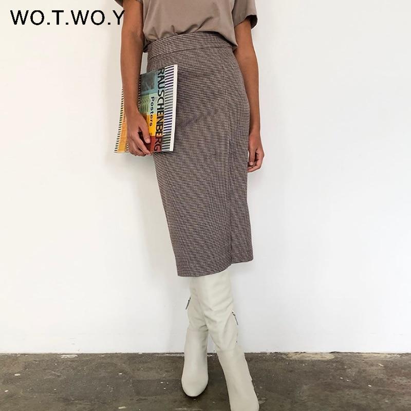 WOTWOY Hohe Taille Gewickelt Plaid Röcke Frauen Split Schlank Midi-Lange Bleistift Röcke Weibliche Casual Seite Reißverschlüsse Mujer Faldas 2020 neue