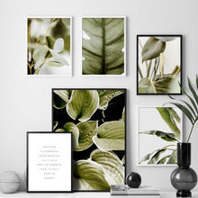 Turtle Leaf Banana Green Leaves Wall Art Canvas Painting Plant Nordic Posters And Prints Pictures For Living Room Home