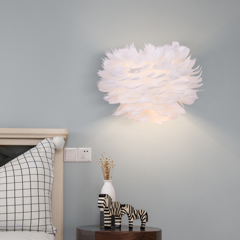 Nordic E27 LED Wall lamp12W Romantic Feather Wall light for living Bedroom Living Room Corridor Art Decorative light Fixtures