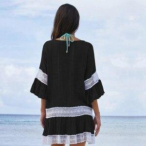Image 3 - Cotone di bambù Estate Pareo Beach Cover Up Sexy Costumi Da Bagno Delle Donne del Costume Da Bagno Cover Up Caftano Vestito Dalla Spiaggia Tunica Bianco Beachwear # q382