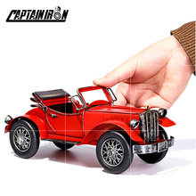 CAPTAINIRON Classic Cars Model Iron Retro Car Figurines American Italy German Car Ornament Metal Crafts Vintage