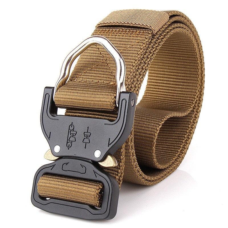Nylon Military Tactical Men Belts Metal Buckle Adjustable Men Belt Heavy Duty Outdoor Hunting Training Belt