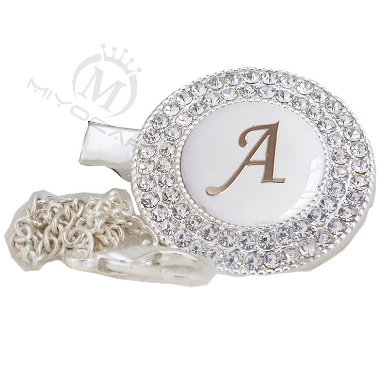 MIYOCAR 26 Letters Unique Silver Bling Pacifier Clip Pacifier Holder White Letter With Gold Chain Dummy Clip L26-sw