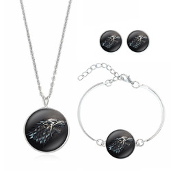 Accessories Power Game Direwolf Time Stone Necklace Ear Stud Bracelet Set Accessories