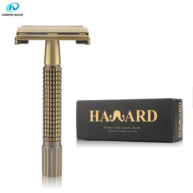 HAWARD Safety Razor Men's Double Edge Razor Vintage Bronze Short Handle Zinc Alloy Shaving Razor Butterfly Manual Shaver