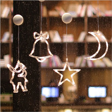 Elk Bell Deer Star Angle Moon Shape Window Sucker Lamp LED Lights For Home Hanging Garland Xmas Tree Decor Ornament New Year Led