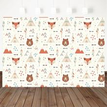 Лесной фон для фотосъемки с изображением лисы и медведя день
