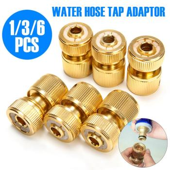 6Pcs Quick Water Pipe Connectors Hose Tap Adaptor Universal Brass Connector For 1/2 Watering Pipe Fitting Set Garden Irrigation garden water connectors palisad 66425 splitter plastic round tap connectors
