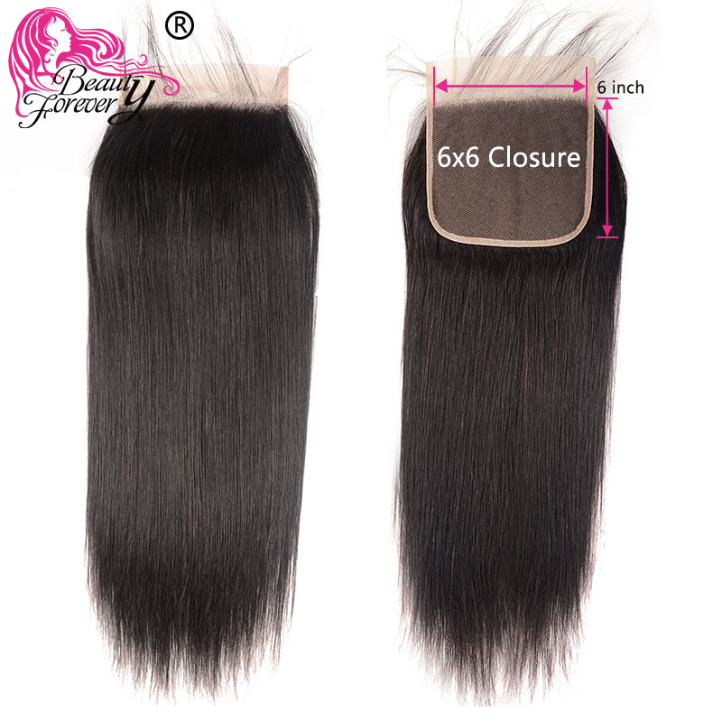Beauty Forever Brazilian Straight Lace Closure Remy Hair 6*6 Free Part Closure 100% Human Hair 10-18inch Free Shipping