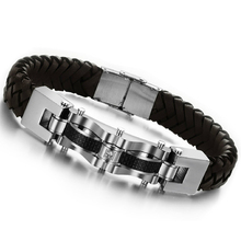 Fashion Men Jewelry Black Braided Genuine Leather Bracelet Stainless Steel Cuff Bracelets Bangles
