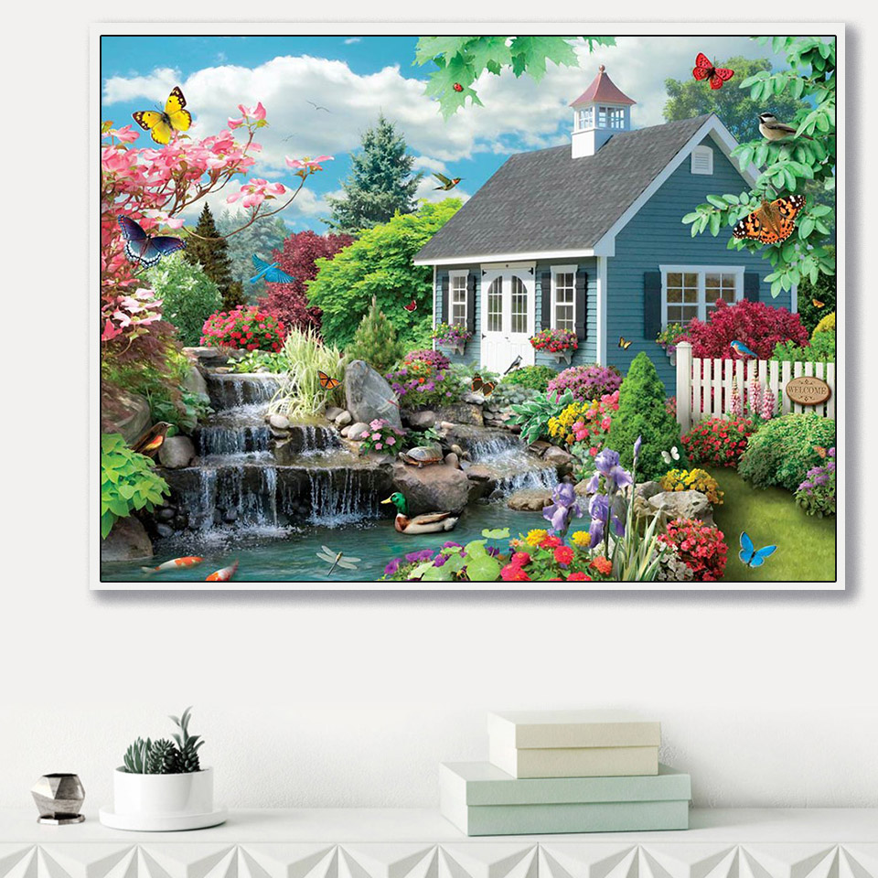 Garden House DIY 5D Diamond Embroidery Painting Cross Stitch Home Wall Decor Art