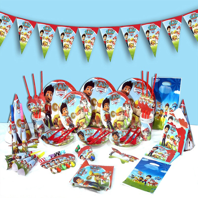 24 Pieces Paw Patrol Cake Card Fruit Plug-in Children Birthday Party Supplies Layout Party Dress Up Dessert Table Decoration7D08