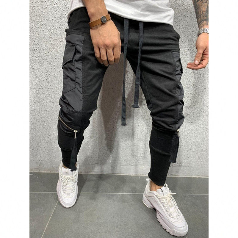 Mens Pants Fashions Men 2019 New Fashion Stitching Men's Casual Pants Elastic Mens Sweat Pants Men Clothing