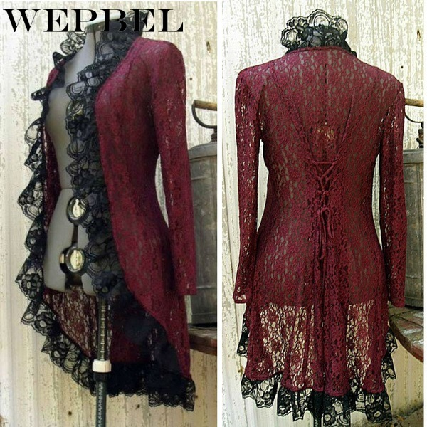 WEPBEL Women Lace Floral Full Sleeve Dress Vintage <font><b>Cos</b></font> <font><b>Sexy</b></font> Ruffles Ladies Medieval Ladies Mini Dresses image