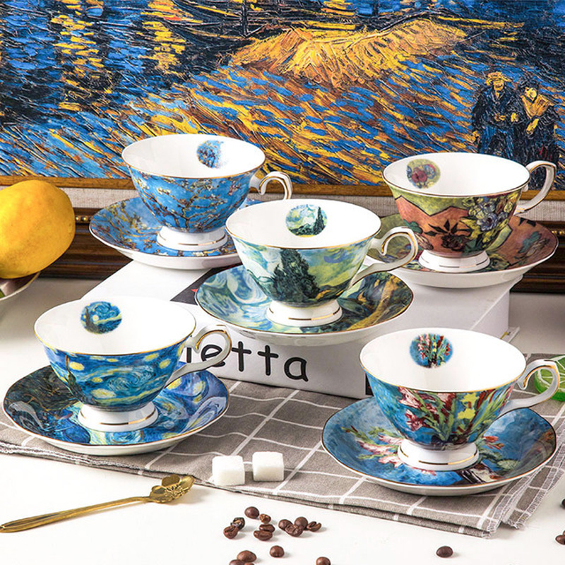 High-quality <font><b>CoffeeCup</b></font> Dish Set 220ml European Style Bone china Teacups Creative Oil Painting Milk Juice Cup Porcelain Drinkware image