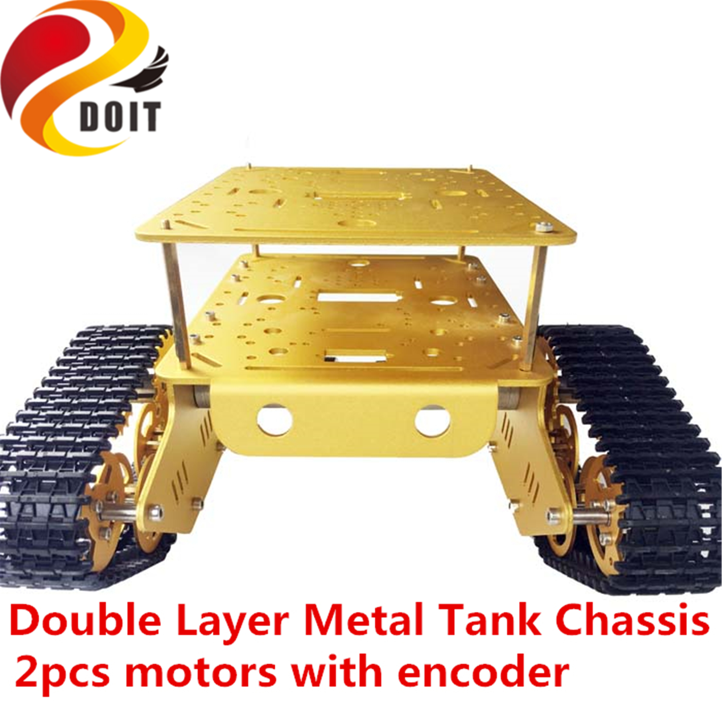 SZDOIT TD300 Double Layer Metal Tank Chassis Kit+ 9/12V Motor With Encoder Tracked Car Robot Platform DIY For Arduino Education
