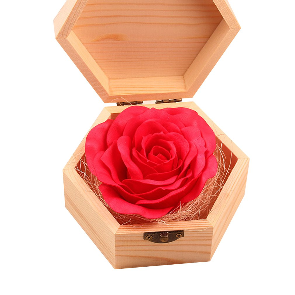 Christmas Valentine'S Day Gift Wooden Box Soap Flower Roses Soap Floral Artificial Girlfriend Creative Gift