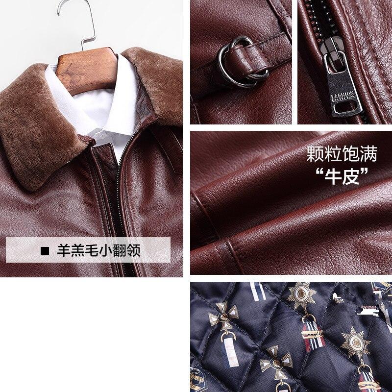Mens Genuine Cow Leather Jacket Autumn Winter Short Cowhide Coat Motorcycle Jacket Men Clothes 2020 Flight KJ1210